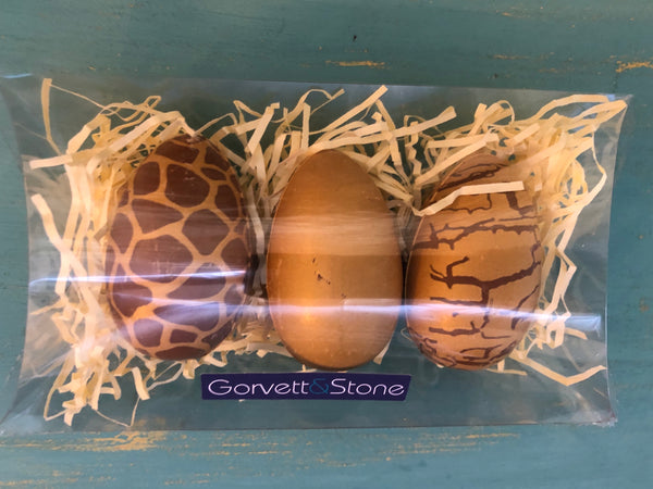 3 x Gold Decorated Hollow Milk Chocolate Eggs
