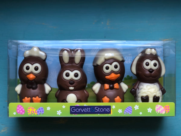 Box of 4 Decorated Chocolate Figures