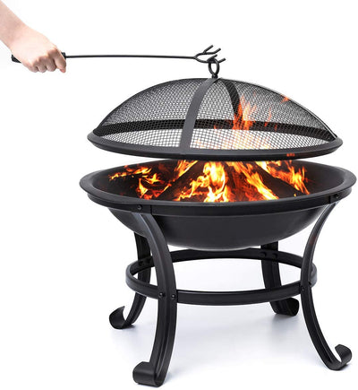 Poker for Camping Picnic Bonfire Patio Backyard Garden Beaches Park Log Grate KINGSO Outdoor Fire Pit 22 Patio Steel BBQ Grill Fire Pit Bowl with Mesh Spark Screen Cover