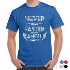 'Faster Than Your Angel' Biker T-Shirt - Mens