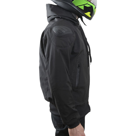 LDM ExoFlex Waterproof Reinforced Motorcycle Hoodie Jacket - Black