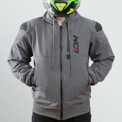 LDM ExoFlex Waterproof Reinforced Motorcycle Hoodie Jacket - Grey