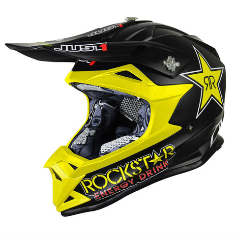 JUST1 J32 Rockstar Kids Helmet - Black | Yellow