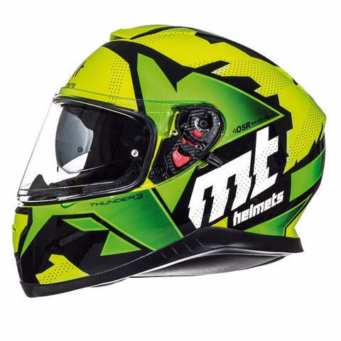 MT Thunder 3 Torn Helmet Limited Edition - Yellow | Green