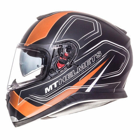 MT Thunder 3 Trace Helmet - Orange | Matt Black