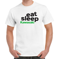 'Eat Sleep Kawasaki' Biker T-Shirt - Mens