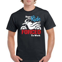 'Forced To Work' Biker T-Shirt - Mens