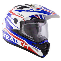Stealth HD009 XC1 Helmet - White | Blue