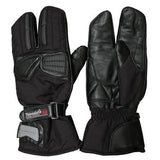 Leather Motorcycle Gloves - Thinsulate Leather/Textile 3 Finger Thermal Gloves