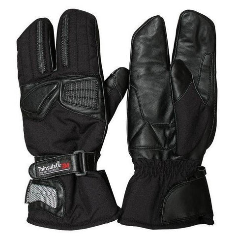 BikeTek Leather/Textile 3 Finger Thermal Gloves