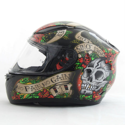 MT Revenge Skulls & Roses Helmet - Black | Red