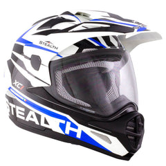 Stealth HD009 XC1 Helmet - White | Black | Blue