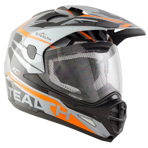 Stealth HD009 XC1 Helmet - Grey | Orange