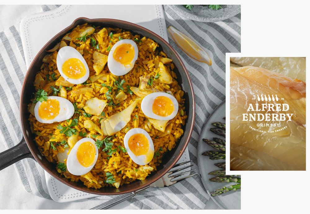 Haddock Kedgeree with Alfred Enderby Grimsby Smoked Haddock