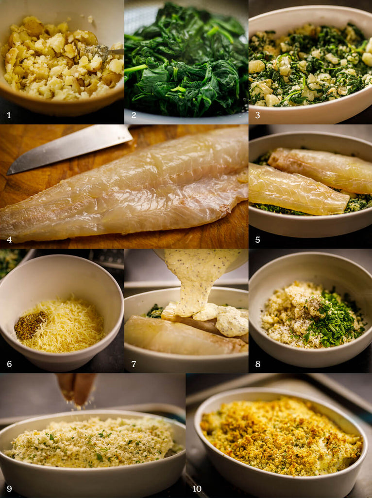 Smoked haddock with spinach