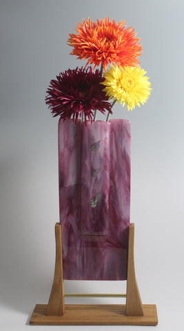 """Cranberry & White Panel Vase"" - SOLD"