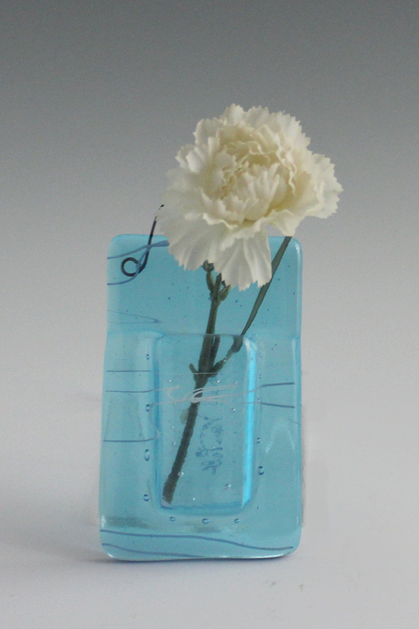 SOLD - Pocket Vase 2: Turquoise Transparent with White Streaky Accents