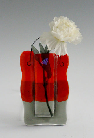 Pocket Vase 6: Orange & Gray Transparent with Dichro Accent - SOLD