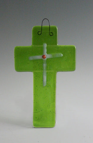 Cross 001: Green Transparent with Irid Back - SOLD