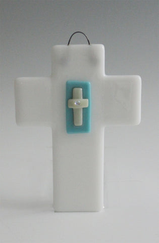 Cross 002:  White, Turquoise, Vanilla with Dichro Accent - SOLD