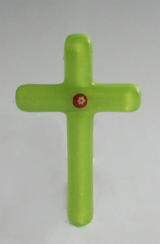 Cross 007: Green with Red / Yellow Flower - SOLD