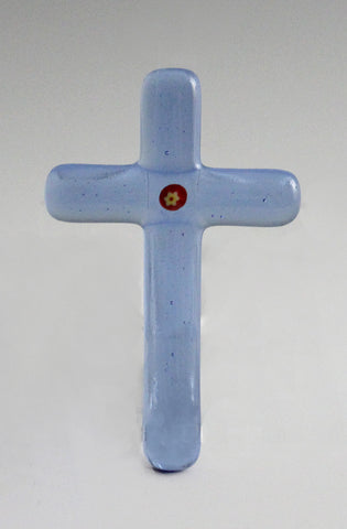 Cross 008: Blue with Red / Yellow Flower - SOLD