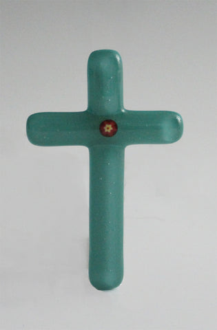 Cross 009: Teal with Red / Yellow Flower- SOLD
