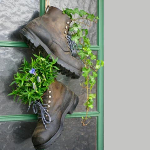 Using boots to upcycle a plant holder