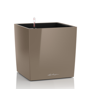 Lechuza Cube Plant Containers - Taupe High Gloss