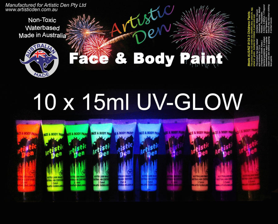 UV Glow Neon Face Body Paint Ultimate Uv Set 10 x 15ml