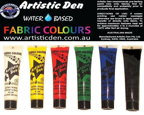 Fabric Paint Set Primary Colours  6 x (15ml- 1L )