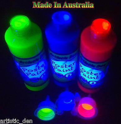 Uv Glow Fluoro Kids Paint  3x250ml YBP