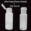 60ml Plastic Bottles HDPE Cosmetic Sanitiser Bottle + Flip Top Lid