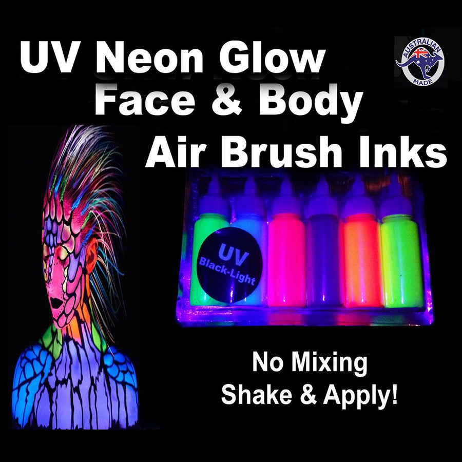 Airbrush Uv Glow Neon Face Paint Set