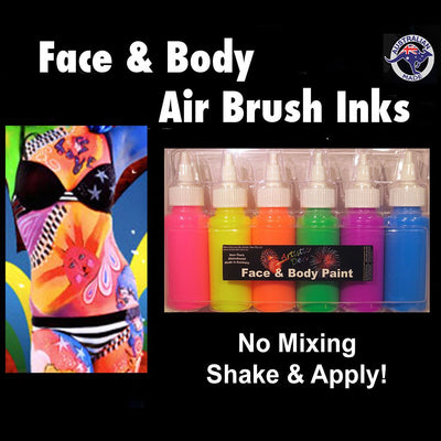Airbrush Fluoro Neon Face Paint Set  6 x 60ml