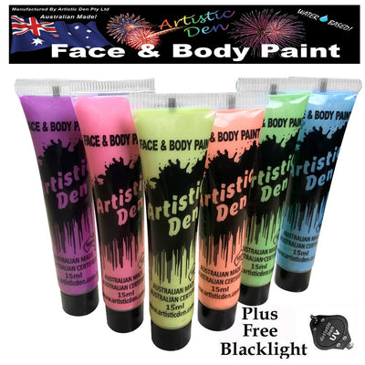 Uv Metallic Neon Glow  Face Paint 6x 15ml plus FREE Blacklight