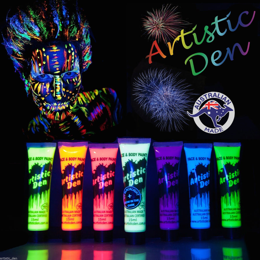UV Glow Neon Face Body Paint  7 x 15ml + FREE UV Blacklight !