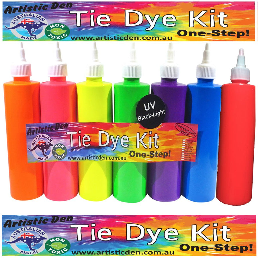 UV Neon Glow Tie Dye Set Professional Grade Tie Dye Kit 7 x 250ml