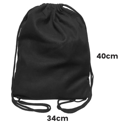 Calico Drawstring Backpack Black Size  1