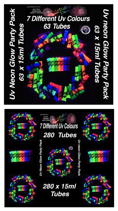 PARTY PACK UV GLOW  Neon Face Body Paints