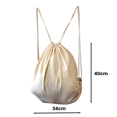 Calico Drawstring Backpack Natural Size 1