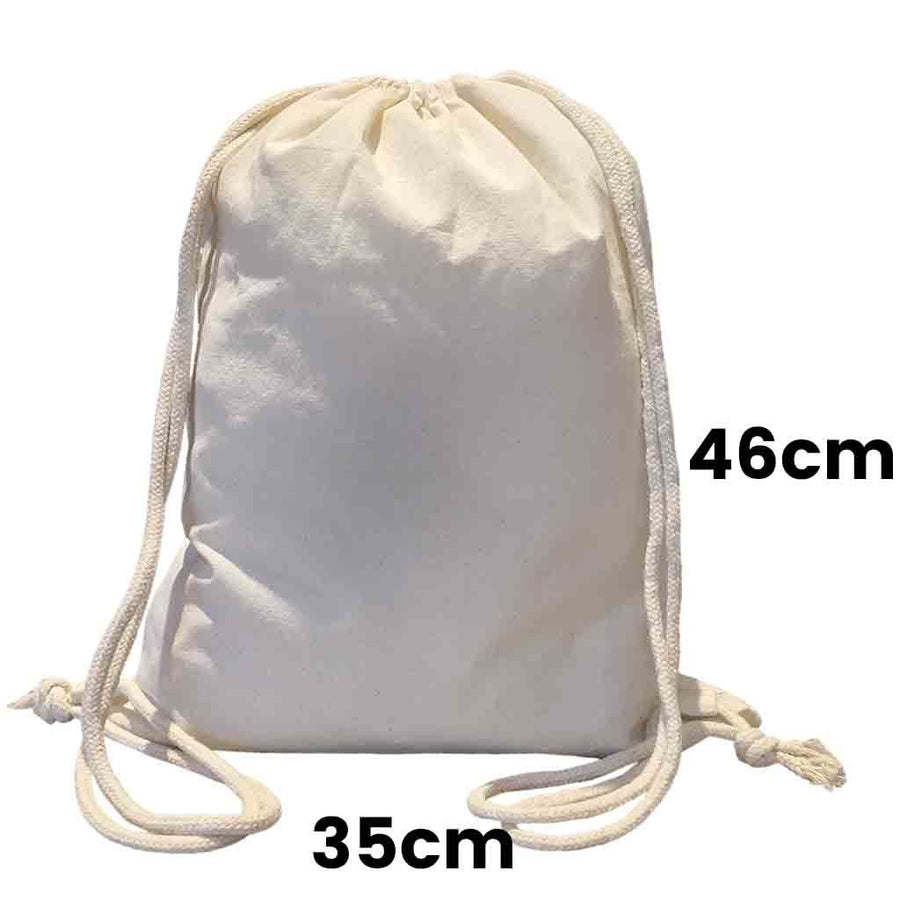 Calico Drawstring Backpack Natural Size 2