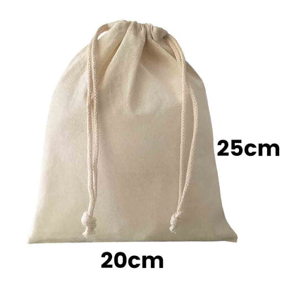 Calico Drawstring Bag Natural Size  10