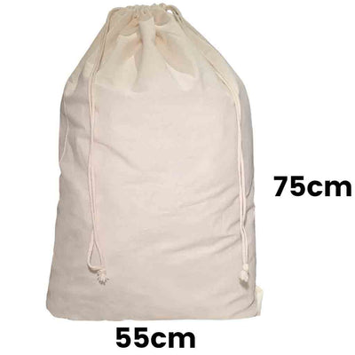 Calico Drawstring Bag Natural Size 13