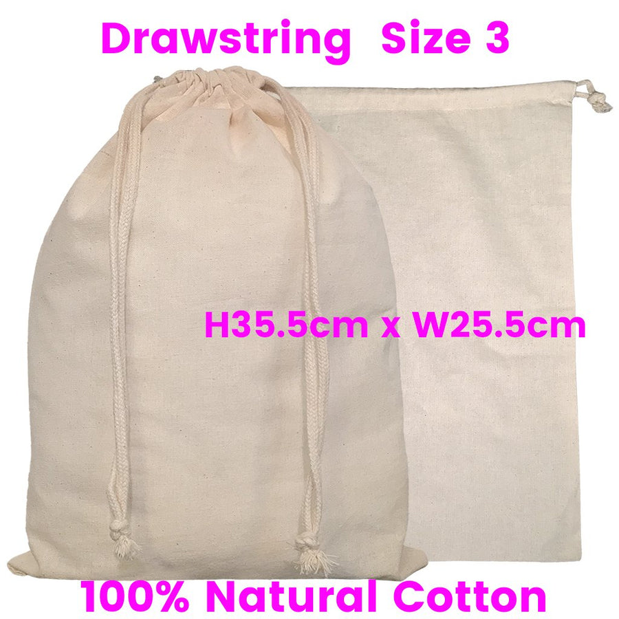 Calico Drawstring Bag Natural Size  3