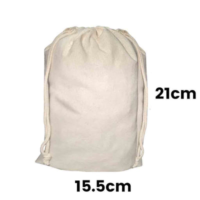 Calico Drawstring Bag Natural Size 1