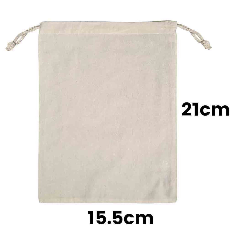Calico Drawstring Bag Natural Size 1, 145gsm