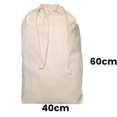 Calico Drawstring Bag Natural Size  12