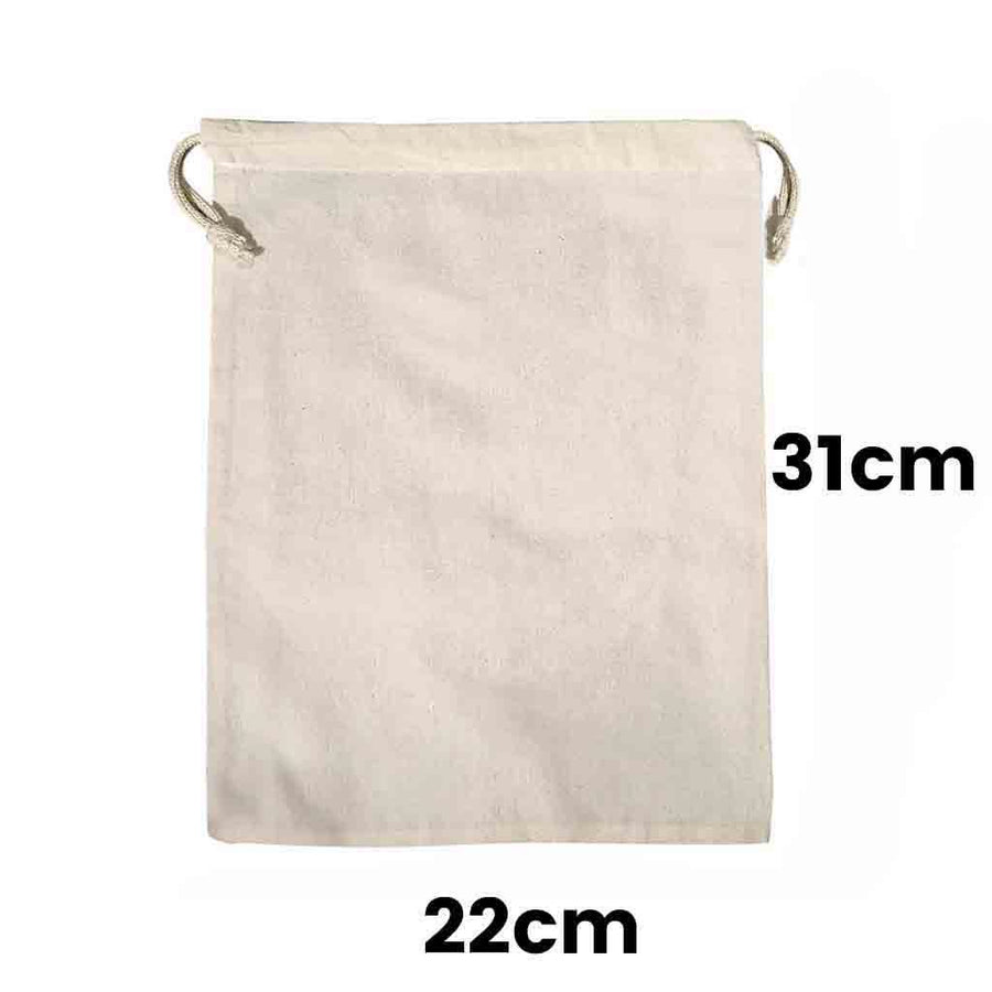 Calico Drawstring Bag Natural Size 2, 145gsm