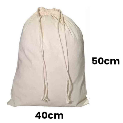 Calico Drawstring Bag Natural Size 5